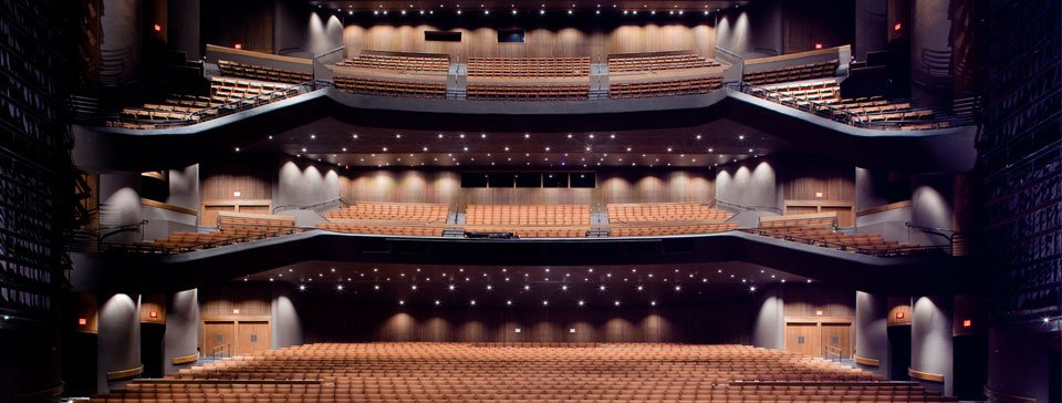View of Bass Concert Hall seats from the stage.